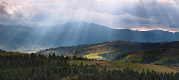 Carpathian view. Stitched Panorama sun sunlight mountain autumn cloud Royalty Free Stock Photo
