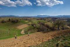 Carpathian village in the mountain of Transylvania, Romania royalty free stock image