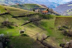 Carpathian village in the mountainof Transylvania, Romania stock photo