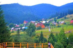 Carpathian village in summer, Polyanytsa, Bukovel, Ukraine Royalty Free Stock Photos