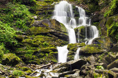 The Carpathian Waterfall Shypit. The Carpathian Mountains with Shypit waterfall landscape view in the Ukrainian part of mountains Royalty Free Stock Photos