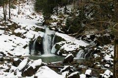 Carpathian winter waterfall Royalty Free Stock Photos