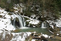 Carpathian winter waterfall Royalty Free Stock Images