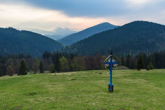 Carpathians, dawn in the mountains above Lake Synevyr Royalty Free Stock Image