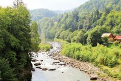 Mountain river. Carpathians easily conquer the hearts of tourists Royalty Free Stock Images