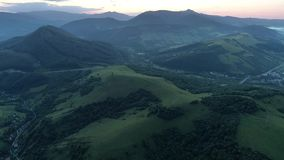 Carpathians in the evening. Shooting from the drone. stock video