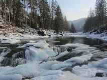 Carpathians forest lake water winter stones snow ice nature holiday travel. Forest lake water winter nature holiday travel royalty free stock photography