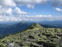 Carpathians. Mountain landscape hills distance space clouds scope  valley Ukraine Royalty Free Stock Photography