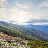 Carpathians mountain valley scene Stock Image