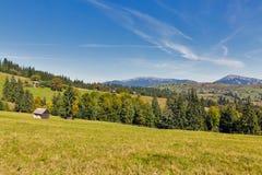 Mountain valley in Yablunytsia, resort Bukovel, Ukraine. royalty free stock image