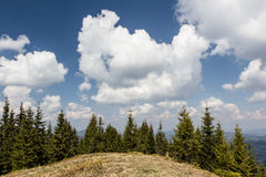 Carpathians, mountains. Dawn in the mountains above Lake Synevyr Spring 2014 Stock Photo
