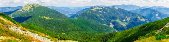 Carpathians mountains hills and summits in summer Royalty Free Stock Photos