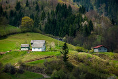 Carpathians. Mountains. Houses Stock Images