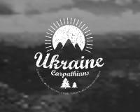 Carpathians mountains retro card Royalty Free Stock Photography