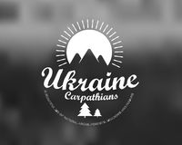 Carpathians mountains retro card Royalty Free Stock Images