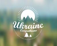 Carpathians mountains retro card Stock Photo