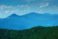 Carpathians mountains in Ukraine with blue morning haze Stock Photography