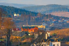 Carpathians mountains village fall landscape Stock Image