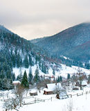 Carpathians Mountains village in the winter Royalty Free Stock Photos