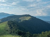 Carpathians mountains, west Ukraine. Mountain pasture between dense forest. Sky closed with solid clouds. Green wood on. Hillside. Ukrainian nature landscape at royalty free stock photo