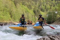 Participants in the kayaking competition are eager for victory and quickly paddle royalty free stock photography