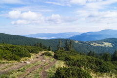 Carpathians in Ukraine. West ukrainian mountains - Carpathians and the highest top Hoverla Royalty Free Stock Photography