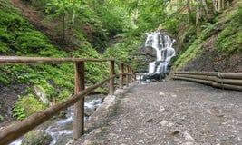 carpathians Um trajeto à grande cachoeira de um rio da montanha ucrânia Imagens de Stock Royalty Free