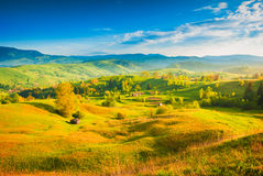 Carpathians village hills Royalty Free Stock Images