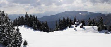 Carpathians in winter. Mountain valley Rohneska, Carpathians, Ukraine royalty free stock image
