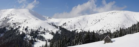 Carpathians in winter. Mount Sheshul, view from mountain valley Rohneska Carpathians Stock Photos