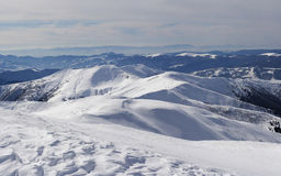 Carpathians in winter. View from Mount Petros, Carpatians Royalty Free Stock Photo