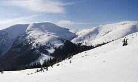 Carpathians in winter. Mount Sheshul, view from mountain valley Rohneska, Carpathians Stock Image