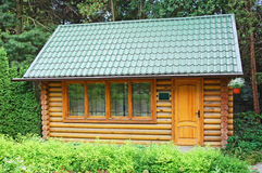 Carpatian hut in forest Stock Image