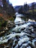 Carpatian vattenfallUkraina natur fotografering för bildbyråer
