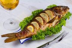 Carpe de poissons grillée par totalité images libres de droits
