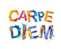 Carpe Diem τα λατινικά μέσα φράσης συλλαμβάνουν τη στιγμή Χρώμα παφλασμών διανυσματική απεικόνιση