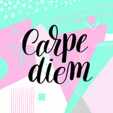 Carpe diem hand written lettering positive quote inspirational l Stock Images