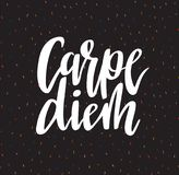 Carpe diem hand written lettering positive quote inspirational latin phrase on the confetti background. Vector illustration. Royalty Free Stock Photography