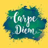 Carpe diem - latin phrase means Capture the moment. Hand drawn typography poster. T shirt hand lettered calligraphic design. Inspi Stock Photo