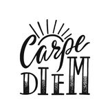 Carpe Diem - latin phrase means Seize The Day. Hand drawn inspirational vector quote for prints, posters, t-shirts. Illustration isolated on white background vector illustration