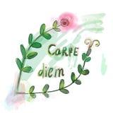 Carpe diem motivation floral print Stock Photography