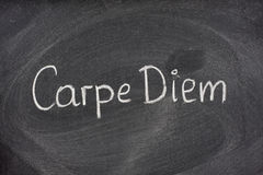 Carpe Diem phrase on blackboard. Enjoy life before it's too late, existential cautionary Latin phrase, Carpe DIem, a quote from Horace, handwritten with white royalty free stock images