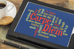 Carpe DIem and positivity word cloud Royalty Free Stock Photos