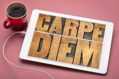 Carpe Diem word abstract in wood type. Carpe Diem - enjoy life before it is too late, existential cautionary Latin phrase by Horace - text in vintage letterpress stock photography
