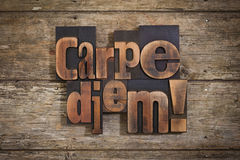 Carpe diem written with letterpress type Royalty Free Stock Images