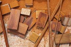 Carpeenter sawdust and decking pieces Stock Images