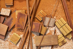 Carpeenter sawdust and decking pieces Royalty Free Stock Images
