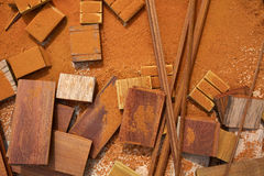 Carpeenter sawdust and decking pieces Royalty Free Stock Photos