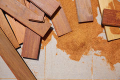 Carpeenter sawdust and decking pieces Royalty Free Stock Image