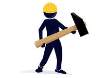 Carpenter. An illustration of a carpenter with an safety hat and an hammer Royalty Free Stock Photography